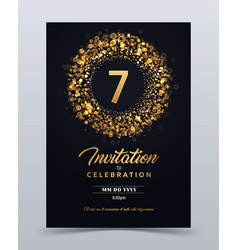 7 years anniversary invitation card template vector image