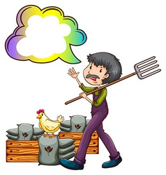 A farmer with an empty cloud callout vector image vector image