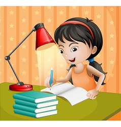 A girl writing with a lampshade vector