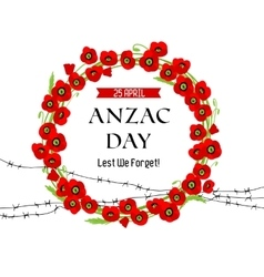 A wreath of poppies and barbed wire card vector