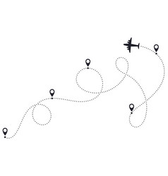 airplane route line plane dotted route airplane vector image