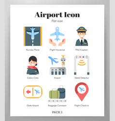 airport icons flat pack vector image