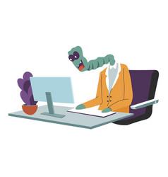 Alien character in office working on laptop vector