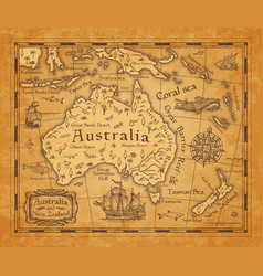 antique map australia and new zealand islands vector image