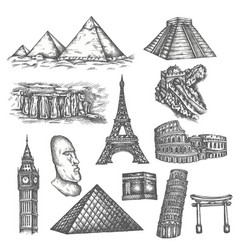 Attractions world in sketch style famous vector