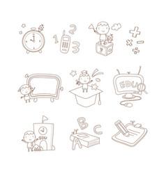 back to school outline sticker set vector image