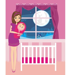 beautiful woman smiling with newborn child vector image