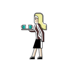 blonde secretary with coffee cups in hand vector image