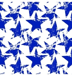 Blue and white worn grunge stars seamless pattern vector