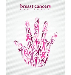 Breast cancer awareness pink ribbon women hand vector image