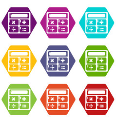 calculator icons set 9 vector image