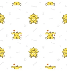cartoon yellow dog with bone seamless vector image