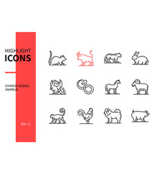 Chinese zodiac animals - line design style icons vector