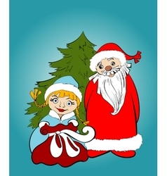 Christmas card Santa and Snow Maiden with gifts vector