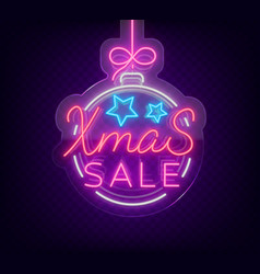 Christmas festive sale of a poster in a neon style vector