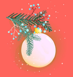 christmas or new year fir tree decoration ball vector image