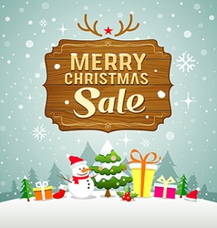 Christmas sale concept with wood board vector image