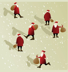 christmas scene with santa claus vector image
