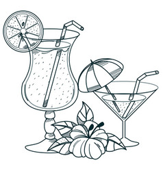 Cocktails outline drawings for coloring vector
