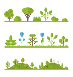 Collection set flat icons tree pine oak spruce fir vector