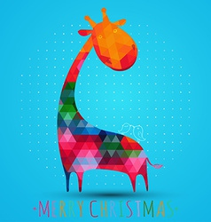 colorfull christmas greeting card with giraffe vector image