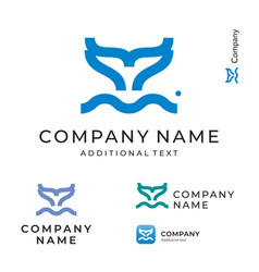 contour fish tail logo simple and clean modern vector image