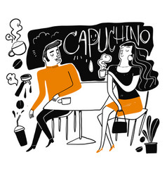 couples drink coffee vector image