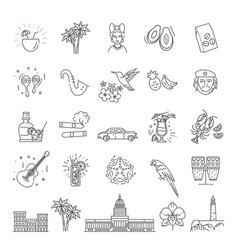Cuba icon set vector