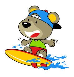 Cute bear cartoon surfing vector