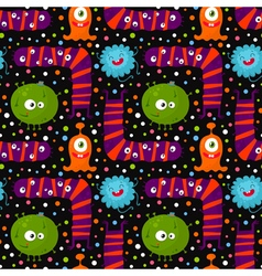 Cute funny seamless pattern with bright monsters vector image