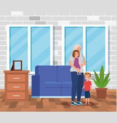 Cute grandmother with her girl and boy kids vector