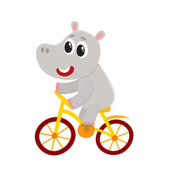 Cute little hippo character riding bicycle vector