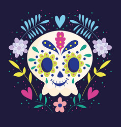 day dead skull with wreath flowers vector image