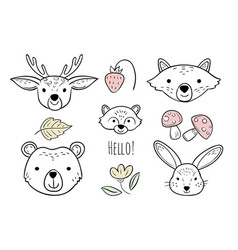 doodle animals head nursery scandinavian style vector image