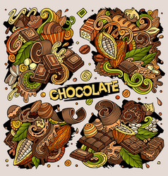 doodles cartoon set chocolate vector image