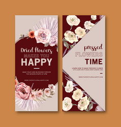Dried floral flyer design with anemone rose peony vector