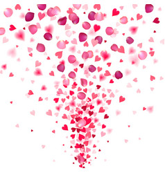 explosion confetti from red hearts and rose vector image