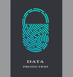 fingerprint padlock logo sign vector image