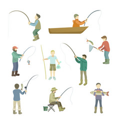 fishermen spend time fishing fish in a boat vector image