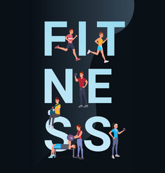 fitness vertical banner vector image