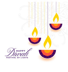 Flat style happy diwali colorful decorative diya vector