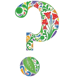 Floral question mark vector image