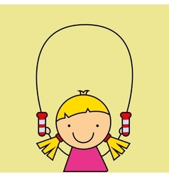 Girl happy cartoon jump rope vector