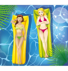 Girls in pool vector