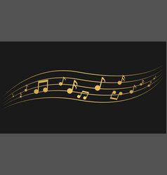 Golden music notes vector