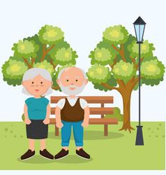 grandparents couple on park vector image