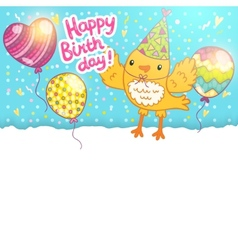 Happy Birthday card background with a bird vector image