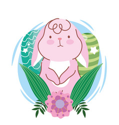 happy easter pink bunny eggs flowers leaves vector image