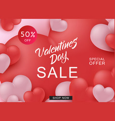 Happy valentine day sale web banner with red and vector