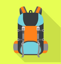 Hiking backpack icon flat style vector